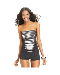 163db9dc4b4 Lyst - Anne Cole Bandeau Ruched Colorblock Tankini Top in Metallic