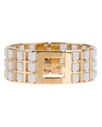 Fendi - Metallic Logo Lattice Bracelet - Lyst
