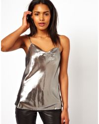 Unconditional - Metallic Drape Front Camisole - Lyst