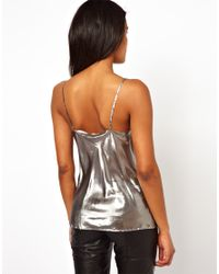 Unconditional - Metallic Drape Front Camisole - Lyst