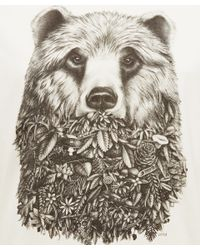 AMI - Natural White Bear Print Tshirt for Men - Lyst