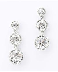 Ann Taylor - Metallic Linear Crystal Drop Earrings - Lyst