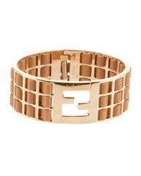 Fendi | Metallic Contrast Panel Bangle | Lyst