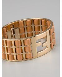 Fendi - Metallic Contrast Panel Bangle - Lyst
