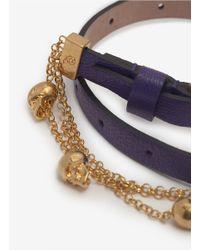 Alexander McQueen - Purple Double Wrap Chain Bracelet - Lyst