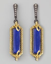 Armenta - Blue Midnight Small Lapis Fleur De Lis Earrings - Lyst