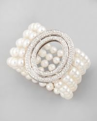 Ivanka Trump - White Five-Strand Freshwater Pearl Bracelet With Signature Oval Diamond Clasp - Lyst