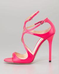 Jimmy Choo - Pink Lang Patent Strappy Sandal - Lyst