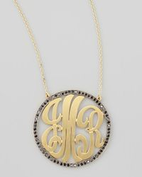 Kacey K | Metallic Cutout-Monogram Large Pave Black Diamond Necklace | Lyst