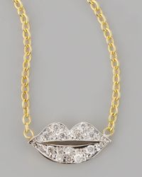 Kacey K | Metallic Mini Diamond-lip Pendant Necklace | Lyst