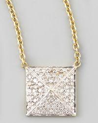 Kacey K - Metallic Pave Diamond Pyramid Pendant Necklace - Lyst