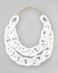 Kenneth Jay Lane - Doublestrand Enamel Link Necklace White - Lyst