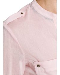 Mango | Pink Long Sleeved Cotton Blouse | Lyst