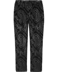 Marc Jacobs | Black Paisley Jacquardpaneled Woolblend Satin Pants | Lyst