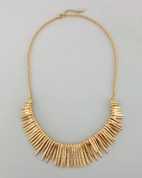 Panacea | Metallic Hammered Spiked Fringe Necklace | Lyst