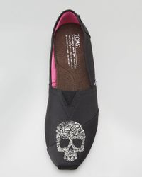 TOMS | Black Beaumont Skull Grosgrain Slip-on | Lyst