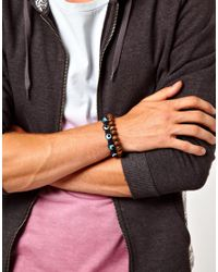 ASOS - Blue Bracelet Pack with Bright Bead and Festival Band for Men - Lyst