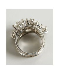 BCBGMAXAZRIA - White Silver Metal and Crystal Stacked Ring - Lyst