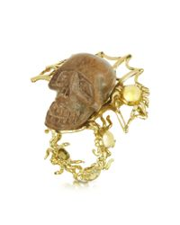 Bernard Delettrez | Metallic Gold With Wooden Skull Web Ring | Lyst