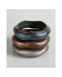Chamak by Priya Kakkar | Set Of 3 Blue Grey and Brown Wave Wooden Bangles | Lyst