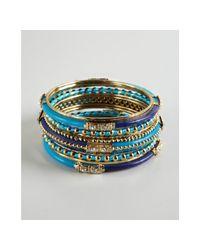 Chamak by Priya Kakkar - Blue Ornate Crystal Metal and Enamel Bangles - Lyst