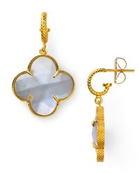 Coralia Leets | White Mother Of Pearl Clover Earrings | Lyst