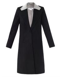 Helmut Lang | Black Contrast Collar Wool Coat for Men | Lyst