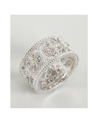 Judith Ripka | Metallic White Sapphire and Silver Wide Fleur Band | Lyst
