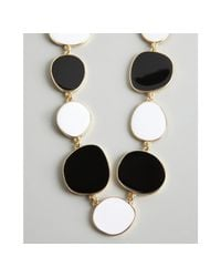 Kenneth Jay Lane | Metallic Black and White Enamel Disk Necklace | Lyst