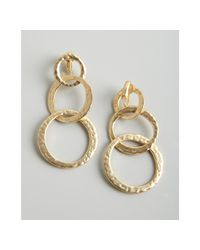 Kenneth Jay Lane - White Gold Hammered Triple Hoop Clip On Earrings - Lyst
