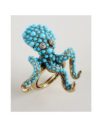 Kenneth Jay Lane | Blue Beaded Octopus Ring | Lyst