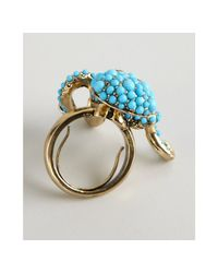 Kenneth Jay Lane - Blue Beaded Octopus Ring - Lyst