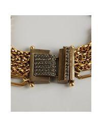Lanvin - Metallic Gold Plated Metal Toupie Multichain Choker Necklace - Lyst