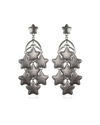 Tuleste | Gray Gunmetal Star Chandelier Drop Earrings | Lyst