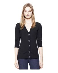 Tory Burch | Black Simone Wool Cardigan | Lyst