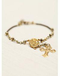 Free People - Metallic Rosary Bracelet - Lyst