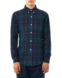 Band of Outsiders - Green Check-print Flannel Shirt for Men - Lyst