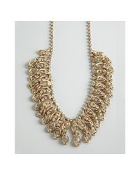 BCBGMAXAZRIA | Metallic Gold Chain Link and Crystal Choker Necklace | Lyst