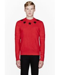 Givenchy Red Star Collar Sweater in Red for Men | Lyst