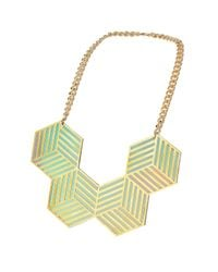 TOPSHOP - Green Sarah Angold For Freedom Four Hex Necklace - Lyst