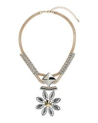 TOPSHOP - Metallic Rhinestone Flower Spike Pendant - Lyst