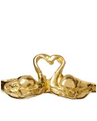 Kenneth Jay Lane - Metallic Vera Meat Swan Love Ring - Lyst
