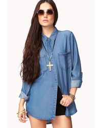 Forever 21 - Blue Longline Chambray Shirt - Lyst