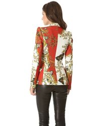 Just Cavalli - Red Paisley Crown Print Fitted Blazer - Lyst