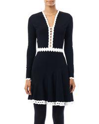 Alexander McQueen - Black Cut-out Contrast Detail Dress - Lyst