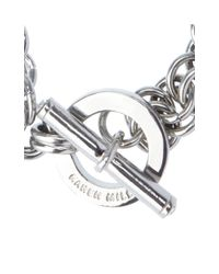 Karen Millen - Metallic Encrusted Bar & Hoop Bracelet - Lyst