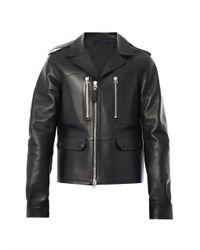 Lanvin - Black Bonded Leather Biker Jacket - Lyst