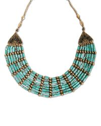 Lucky Brand - Green Gold Tone Metal Turquoise Necklace - Lyst