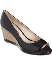 Prada | Black Peep Toe Espadrille Wedge | Lyst