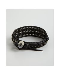 Chan Luu | Black and Silver Chain and Leather Wrap Bracelet for Men | Lyst